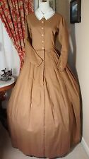Civil War Reenactment Ladies Day Dress Size 16 Tea Stain Brown Solid