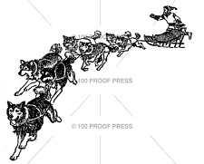 100 PROOF PRESS RUBBER STAMPS SLED DOGS NEW wood STAMP