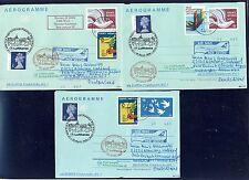 58834) LH FF Frankfurt - Edinburgh GB/UK 28.3.99, 3 GA-Aerogramme ab UNO Wien