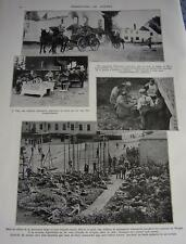 Mouland incendié, Visé, Bruges 1914  WW1 coupure de presse photo clipping