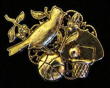 Cardinal Basketball Mascot Brooch Pin 24 Karat Gold Plate