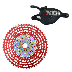 SRAM X01 Eagle Trigger Shifter Red w/ KCNC 12 Speed Cassette 9-52 Teeth Red