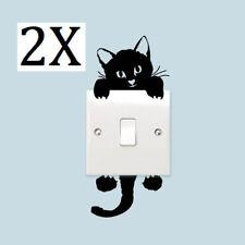 2X Cat Sticker Light Switch Stick Kids Nursery Room Wall Decal Cute Childrens