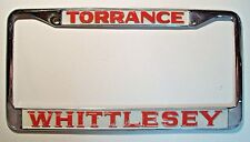 "COOL 1960's/1970's Metal ""Whittlesey"" Torrance CA License Plate Frame -- Jaguar"