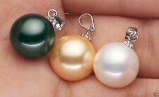 3PC 14MM WHITE BLACK YELLOW ROUND SHELL PEARL PENDANT NECKLACE