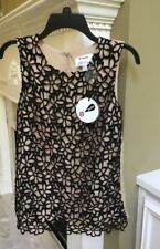 NWT Neiman Marcus Lela Rose Target Womens Top Black Beige Lace Size Small