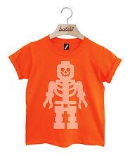 BATCH1 UNOFFICIAL LEGO SKELETON PRINT HALLOWEEN FANCY DRESS KIDS T-SHIRT
