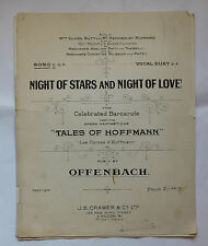 NOTTE di stelle e NOTTE D'AMORE Offenbach barcarole Hoffmann CANZONE SPARTITO