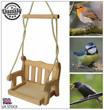 New Rustic Hanging Wooden Garden Swing Seat Bird Feeder Novelty Garden Ornament