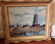 Original Painting SIGNED San Francisco Artist Ray Thompson Windmills Landscape