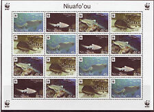 NIUAFO'OU 2012 WWF FISH, ZEBRA SHARKS UNMOUNTED MINT SHEETLET OF 16