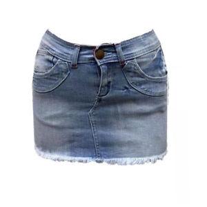 New Ladies Freyed Hem Stretch Bodycon Buckle Back Zip Short Denim Mini Skirt