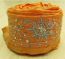 Vintage India Sari Trim Border Lace Sewing Yellow Embroidered 1YD Antique Ribbon