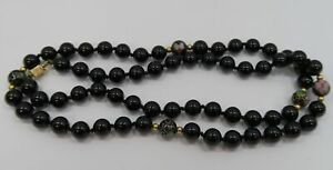 "14K Yellow Gold ~ 25"" Long 8 mm *ONYX* Beaded Necklace ~ Individually Knotted ~"