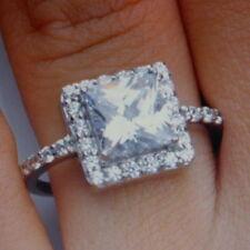 Princess Diamond Engagement White Gold Fine Rings