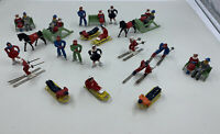 BARCLAY MANOIL WINTER SPORTS LEAD TOY FIGURE LOT - SKATERS SKIERS SLEDS SLEGHS