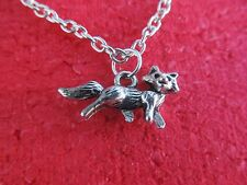 FOX pendant necklace on link chain FREE SHIPPING (Spirit animal/power/totem)