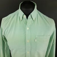 Levi's Mens Vintage THICK Shirt SMALL Long Sleeve Green SLIM FIT Cotton