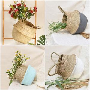 Seagrass Woven Storage Wicker Basket Flower Plants Straw Pots Bag Home Decor