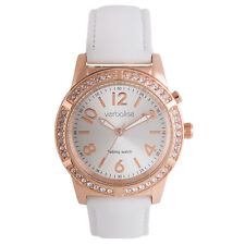 Verbalise Ladies Rose Gold Talking Watch with Swarovski Crystals, White Leather