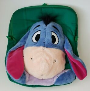 Eeyore Plush Attached Stuffed Eeyore Green Backpack w/ Tag Disney