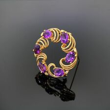 Vintage 14k Amethyst Wreath Pin Brooch Highest Quality Gorgeous Shade Of Purple