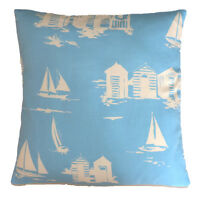 Vintage/Shabby Chic Clarke and Clarke Beach Huts Blue fabric Cushion Cover