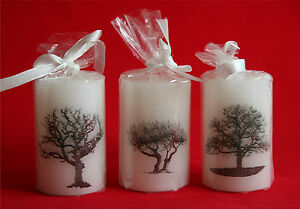 Picture Art Pillar Candle - Trees of the UK - Trees in Britain - Great Gift Idea