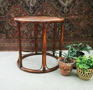 Vintage Midcentury Round Coffee End Table Bamboo Wicker Cane Rattan Plant Stand