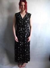 VINTAGE BLACK DRESS SIZE 10/12 FLORAL WHITE S M SLEEVELESS LONG MAXI WOMENS