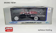Welly 1960 Chevy Impala Convertible 5.7l V8  Black w/Red 125198W 1/18 NEW MINT!