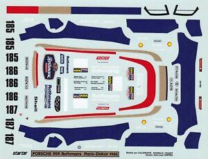 """decals Rally Paris Dakar 1/43- Porsche """"Rothmans"""" 959 #185 #186 #187 1986"""