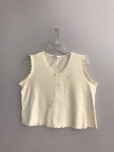 Secret Treasures Women's Sleepwear Yellow Tank Top Lace Trim V-Neck Size Large