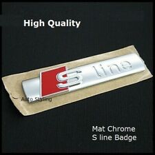 Audi S line Matt Chrome Badge Rear Boot Emblem Decal Sticker Side Wing Fender