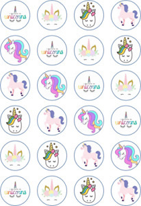 24 x Edible Cupcake Toppers - Rice / Wafer Paper - Perfect for Unicorn Fans