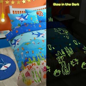 Glow in the Dark Beach Sea Life Kids Bedding Set Duvet Cover Quilt Cover Bed Set