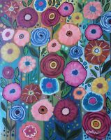 Floral Abundance 16 x 20 ORIG STRETCHED CANVAS PAINTING Folk Art Karla Gerard