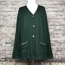 Susan Graver Green Chain Printed Back Button Front Cardigan Sweater Size Large