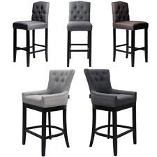 Linen Fabric Bar Stool Chair High Stools Breakfast Counter Stools Wood Legs Seat