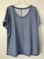 NEW T by Talbots 2X 3X S/S Knit Top Tee Shirt Links Rayon/Cotton/Spx Blue