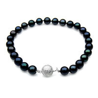 7mm Japanese Akoya Saltwater Black Pearl Bracelet Pacific Pearls® Gifts for Wife