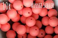 10 silicone BRIGHT CORAL 15mm beads round BPA free teething necklace orange pink