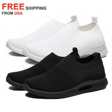 Mens Slip on Shoes Casual Running Tennis Walking Sneakers Athletic Sport Fitness