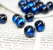 10x lackierte Glasperlen Perlen Beads Schmuck DIY Blau abstrakt 10mm Kugel