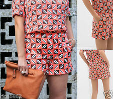 ZARA LADIES HIGH WAIST ED SHORTS  SALMON GEOMETRIC PRINT SIZE S SMALL
