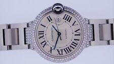 5.00 Ct White Diamonds Cartier Steel Men's Ballon Bleu 42mm Watch W69012Z4 ASAAR