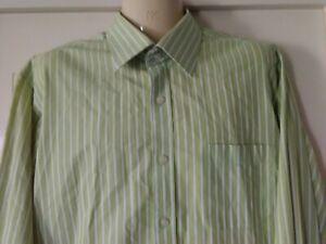 mens Boston Shirt, Size 43, long Sleeves, Cotton blend, Green & White, French Cu