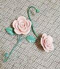 Vintage plaster-like Drapery Tiebacks Pink Roses Accents