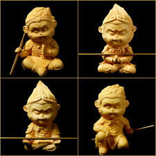 Boxwood Wood Carving Sun Wukong Monkey King Hand-Carved Sculpture 4 Style