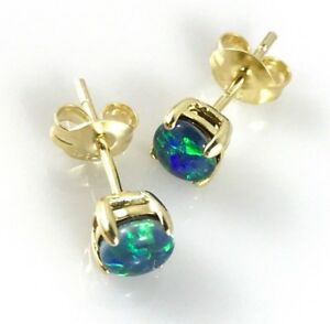 Genuine Australian Gold Opal Stud Earrings Round Circle 4x4mm Sterling Silver